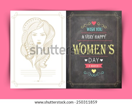 Beautiful greeting card decorated by modern young girl face for International Women's Day celebration.