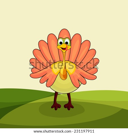 Beautiful greeting card design for Happy Thanksgiving Day celebrations with cute turkey bird on nature background. - stock vector