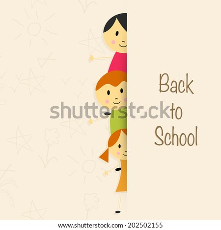 Beautiful greeting card design with cute little kids on beige background with stylish text Back to School.  - stock vector