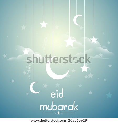 Beautiful greeting card design with hanging moons and stars on shiny blue background for muslim community festival Eid Mubarak celebrations.  - stock vector