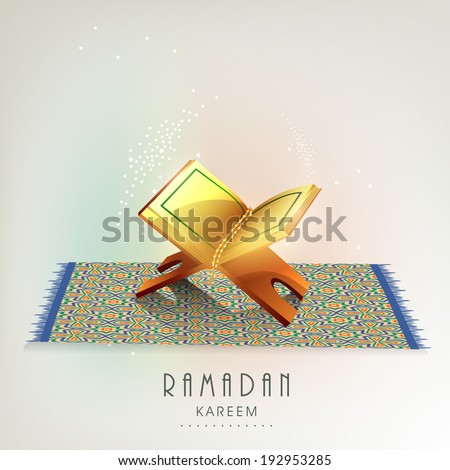 Beautiful greeting card design with Islamic holy book Quran Shareef on carpet for Ramadan Kareem. - stock vector