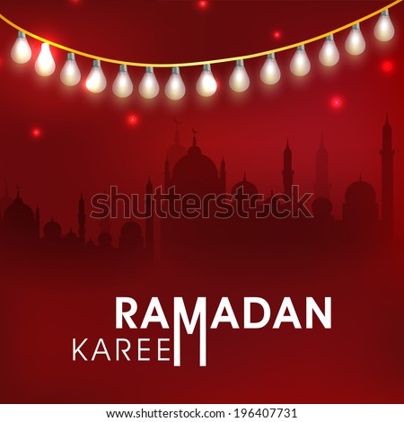 Beautiful greeting card design with silhouette of mosque in shiny night background for Ramadan Kareem celebrations.  - stock vector