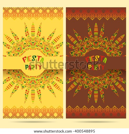 Beautiful greeting card, invitation for fiesta festival. Design concept for Mexican Cinco de Mayo holiday with ornate mandala and border frame ornament. Hand drawn vector illustration - stock vector