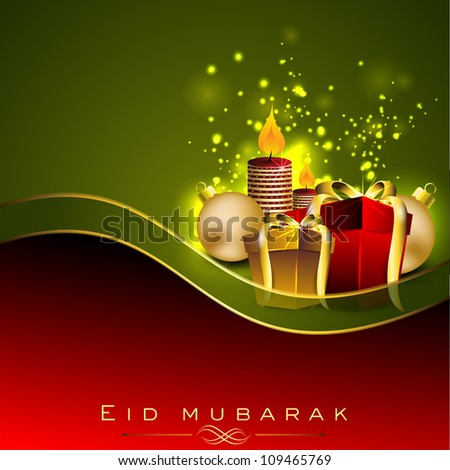 Beautiful greeting card of Eid Mubarak with colorful gift boxes and space for your message. EPS 10. - stock vector