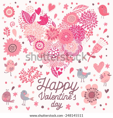 Beautiful greeting card with bright flowers and cartoon birds. Vector holiday invitation with floral elements. - stock vector