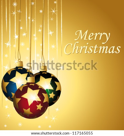 Beautiful greeting card with colorful starry ornaments. Vector illustration. - stock vector