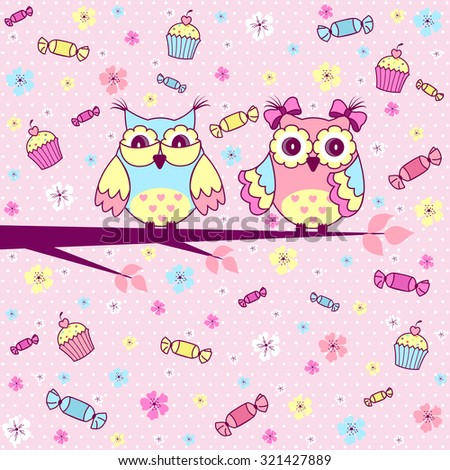 Beautiful greeting card with cute owls, cakes and chocolates on a pink background - stock vector