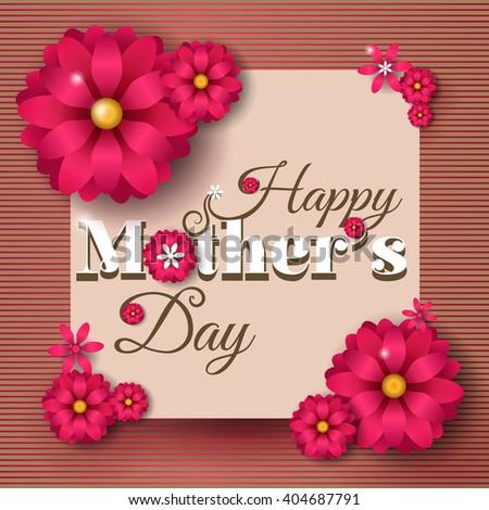 Beautiful greeting card realistic flowers happy stock vector 2018 beautiful greeting card with realistic flowers happy mothers day m4hsunfo