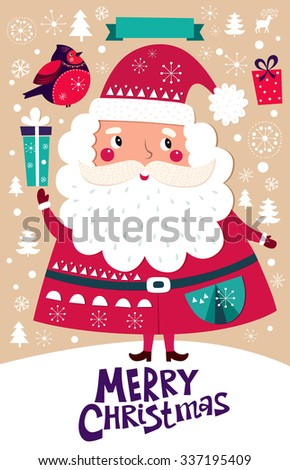 Beautiful greeting card with Santa Claus and gift boxes. - stock vector