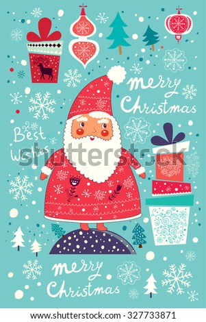Beautiful greeting card with Santa Claus and gift boxes. Christmas Postcard - stock vector