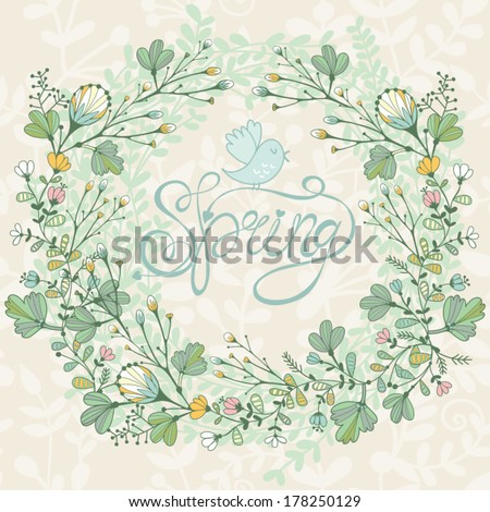 Beautiful greeting card with spring flowers. Bright illustration, can be used as creating card,invitation card for wedding,birthday and other holiday and cute summer background. - stock vector