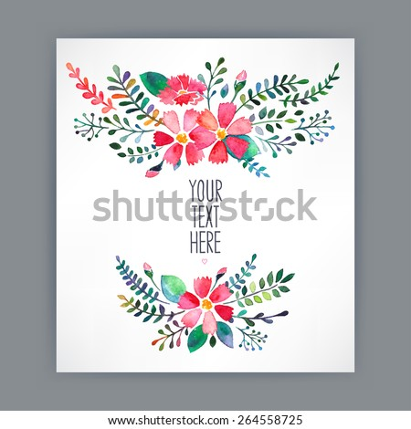 Beautiful greeting card with watercolor flowers and place for text - 4 - stock vector