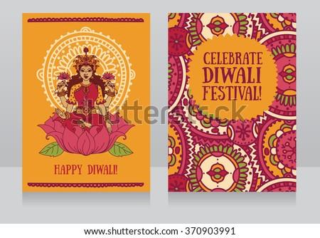 Beautiful greeting cards diwali festival indian stock photo photo beautiful greeting cards for diwali festival with indian goddess lakshmi and colorful ornament vector illustration m4hsunfo