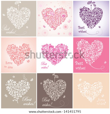 Beautiful greeting cards with hearts - stock vector