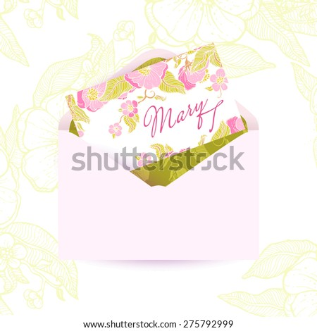 Beautiful greeting open wedding envelope with vintage flowers. Gentle, blooming flowers gently pink flowers with green leaves. Design envelope for festive occasions: wedding, birthday, baby shower - stock vector
