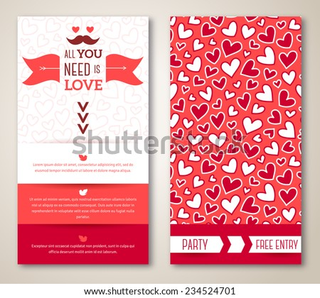 Beautiful greeting or invitation cards with heart pattern. Valentine's day. Vector illustration. Typographic template for your text - stock vector