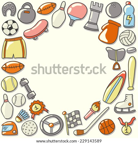 Beautiful greeting sport frame. Cute poster design. Hand drawn vector illustration. - stock vector