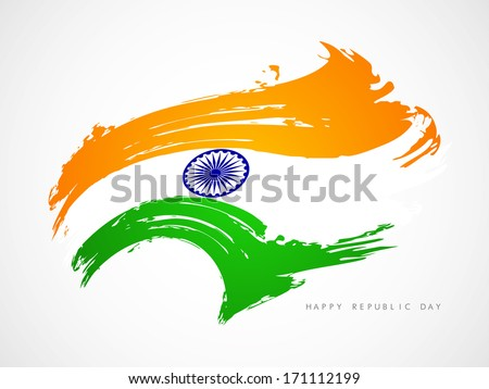 Beautiful grungy Indian flag design in wave style. Vector illustration - stock vector