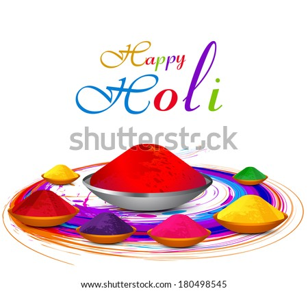 Beautiful gulal colorful holi with festival celebration vector background - stock vector