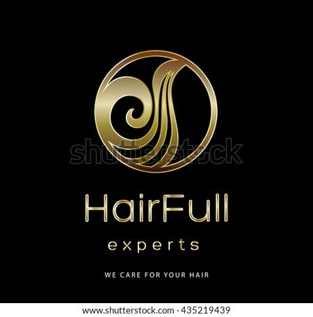 BEAUTIFUL HAIR , PREMIUM VECTOR LOGO / ICON DESIGN , GOLD