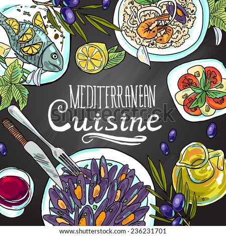 beautiful hand-draw illustration Mediterranean cuisine- food on the chalkboard - stock vector
