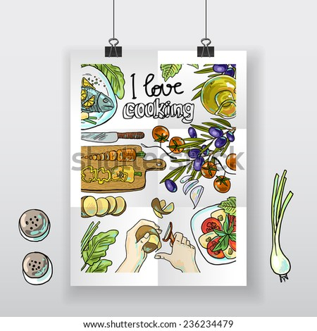 Beautiful hand-draw poster i love cooking - stock vector