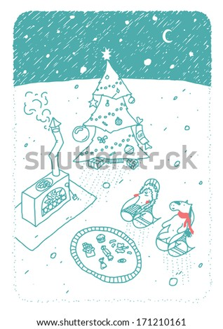 Beautiful Hand Draw Winter Illustration. Vintage Christmas Card - stock vector