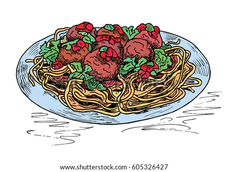 Beautiful Hand Drawing Pasta Meatballs Tomato Stock Vector ...
