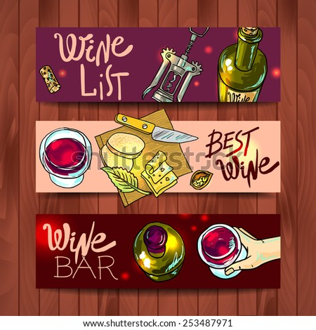 Beautiful hand drawn banners wine and cheese top view - stock vector