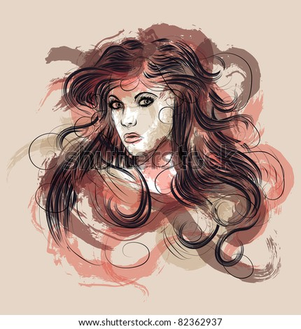 Beautiful hand drawn fashion sketch of woman with long hair - stock vector
