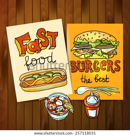 Beautiful hand drawn flayers fast food top view