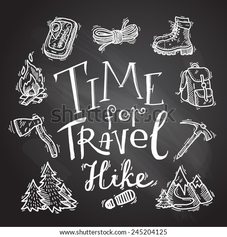 beautiful hand- drawn hike icons on the chalkboard - stock vector