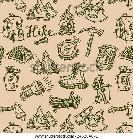 beautiful hand- drawn hike seamless pattern  - stock vector