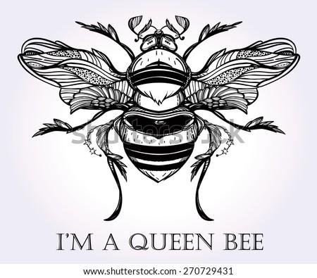 Queen Bee Logo Beautiful hand ...