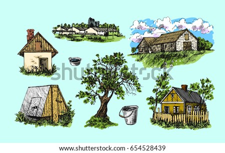 Beautiful hand drawn  illustration eco farm. Sketch style.