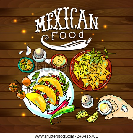 beautiful hand drawn illustration mexican food on the wood texture - stock vector