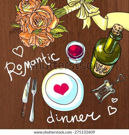 beautiful hand drawn illustration romantic dinner top view - stock vector