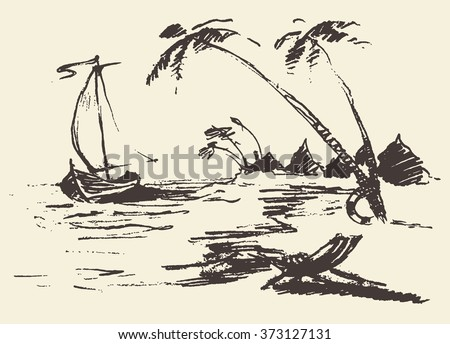 Beautiful hand drawn landscape with seaside view, beach and a boat, vector illustration, sketch