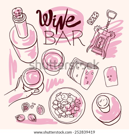 Beautiful hand drawn set of food illustration wine and cheese top view - stock vector