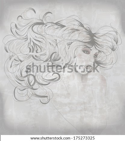 Beautiful hand drawn sketch of woman with long hair - stock vector