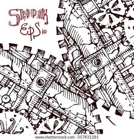 Beautiful hand drawn sketch steampunk mechanism. Time machine. - stock vector