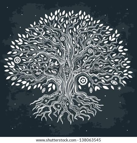 Beautiful hand drawn tree - stock vector