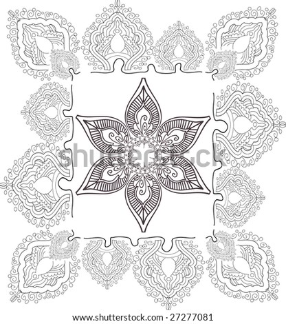 beautiful hand drawn vector pattern design good for textile, jewellary, henna and decorations.