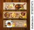 Beautiful hand drawn vector sketch banners coffee for your design - stock vector
