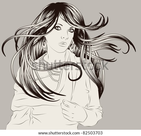 Beautiful hand drawn woman fashion illustration - stock vector