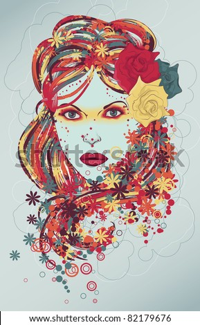 Beautiful hand drawn woman fashion illustration with flowers - stock vector