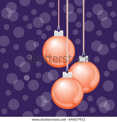 beautiful hanging christmas ornaments - vector illustration