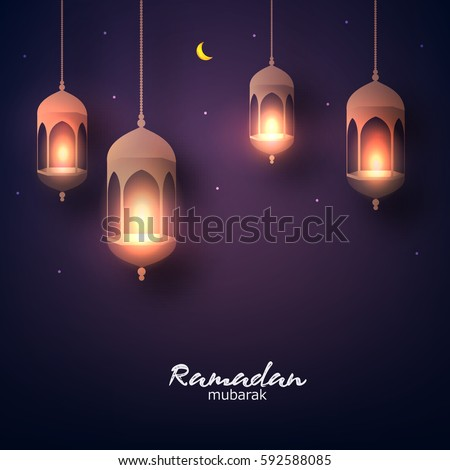 Beautiful hanging shiny lanterns on dark background, Wallpaper design on the occasion of Muslim's Holy Month Ramadan Kareem.