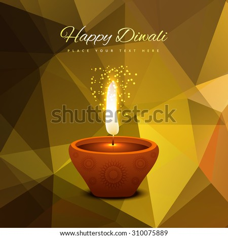 Beautiful happy Diwali card low poly colorful background illustration - stock vector