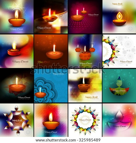 Beautiful happy diwali 16 collection celebration card colorful hindu festival background vector - stock vector